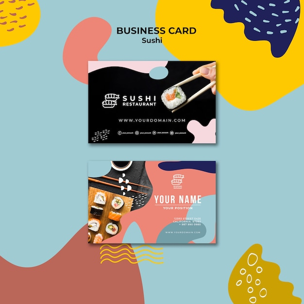 Sushi restaurant business card Free Psd