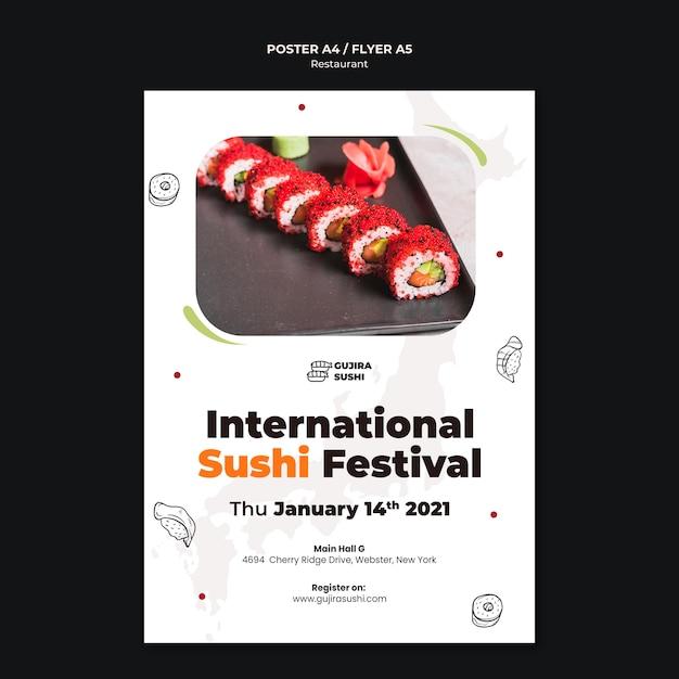 Шаблон печати флаера суши-ресторана Premium Psd