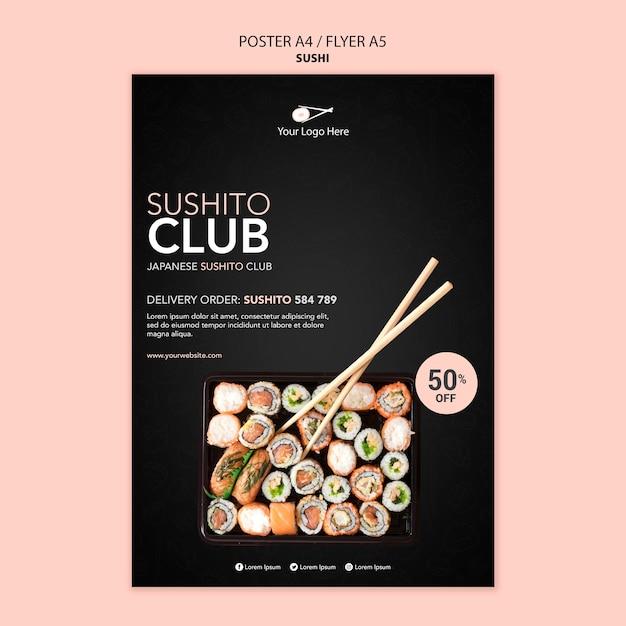 寿司レストランチラシテンプレート 無料 Psd