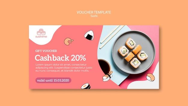 Sushi restaurant gift voucher template Free Psd