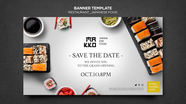 Sushi restaurant grand opening banner web template Premium Psd