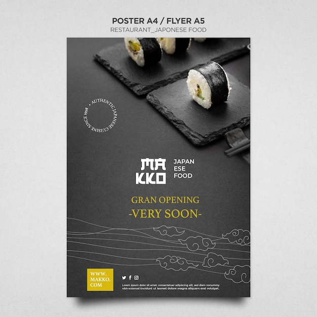 寿司レストラングランドオープンポスター印刷テンプレート 無料 Psd