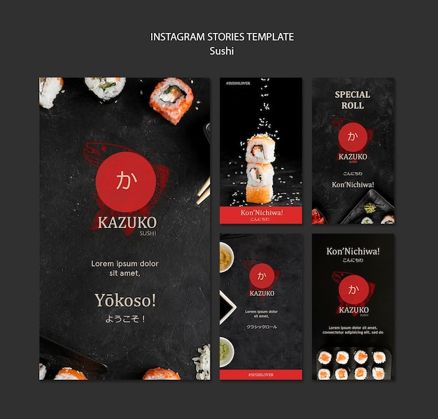 Sushi restaurant instagram stories template Free Psd