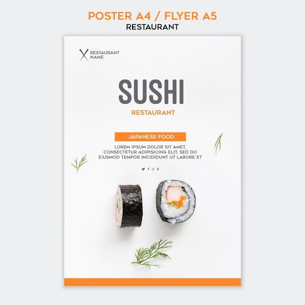 Modello di manifesto del ristorante di sushi Psd Gratuite