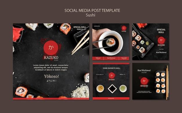 Sushi restaurant social media post template Premium Psd