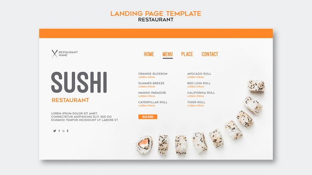 寿司レストランテンプレート 無料 Psd