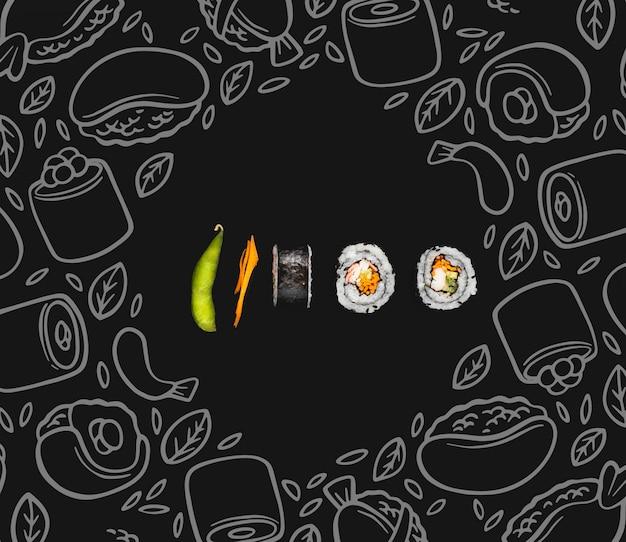 Суши роллы на стол с мок-ап Бесплатные Psd