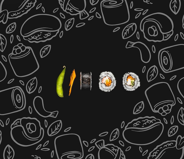 Sushi rolls on table with mokc-up Free Psd