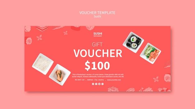 Sushi voucher template concept Free Psd