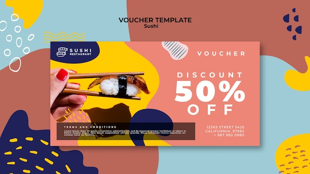 Sushi voucher template with discount Free Psd