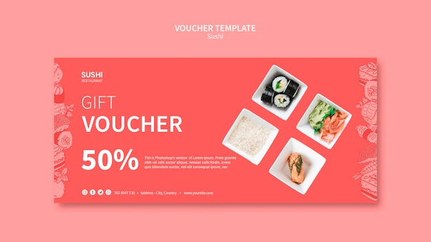 Sushi voucher template Free Psd
