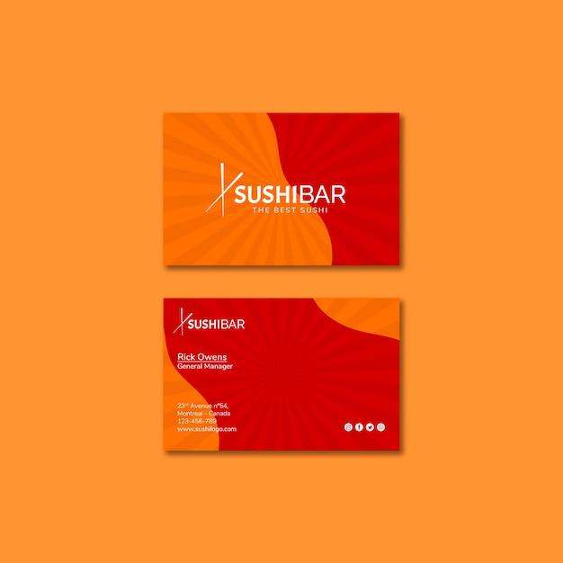 Sushibar restaurant business card template for japanese restaurant Free Psd
