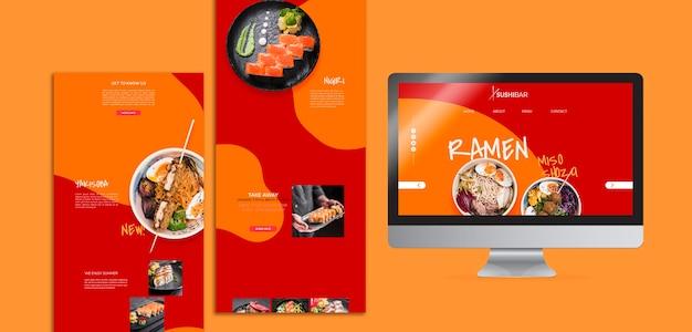 アジアの日本食レストランまたはsushibarのメニューとウェブサイト 無料 Psd