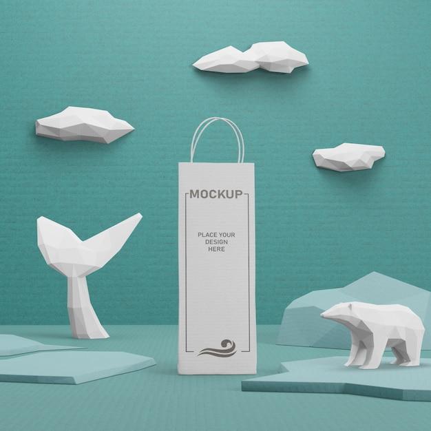 Устойчивый бумажный пакет крафт на день океана Бесплатные Psd