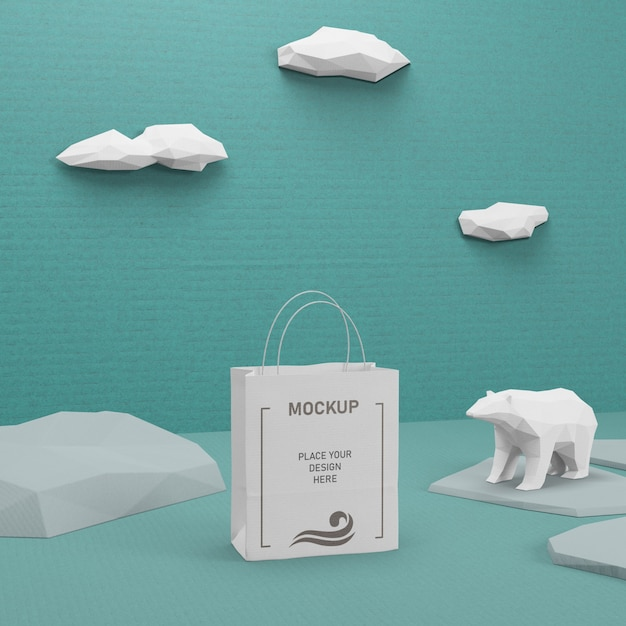 Sustainable paper bag with mock-up Free Psd