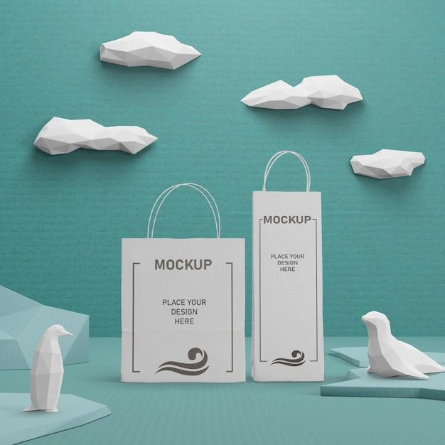 Устойчивые бумажные пакеты для дня океана Бесплатные Psd