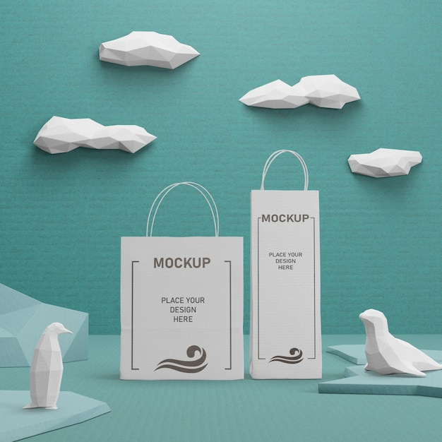 Sustainable paper bags for ocean day Free Psd