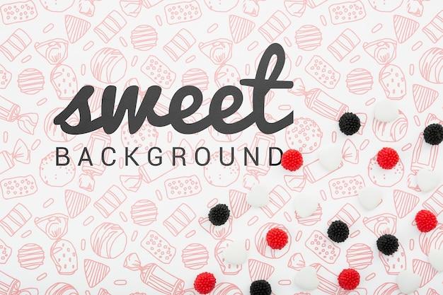 Сладкий фон с черными и красными ягодами Бесплатные Psd