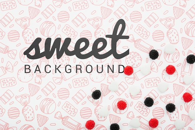 Sweet background with black and red berries Free Psd