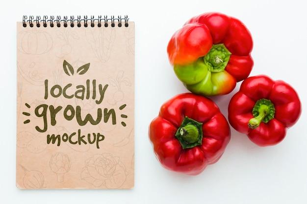 Sweet bell peppers locally grown veggies mock-up Premium Psd