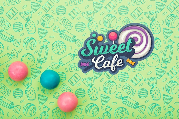 Sweet cafe with lollipop and gum Free Psd