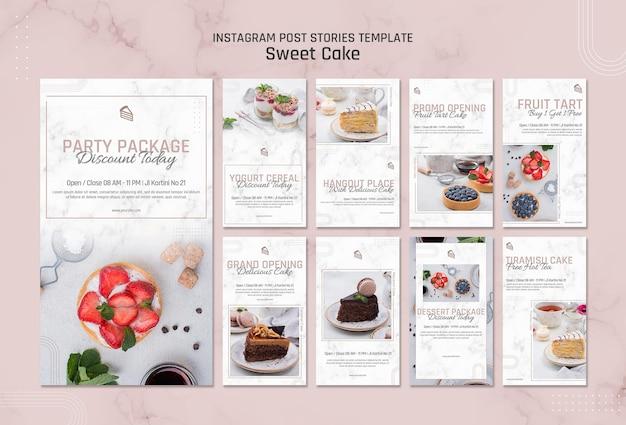 달콤한 케이크 가게 Instagram 이야기 템플릿 프리미엄 PSD 파일