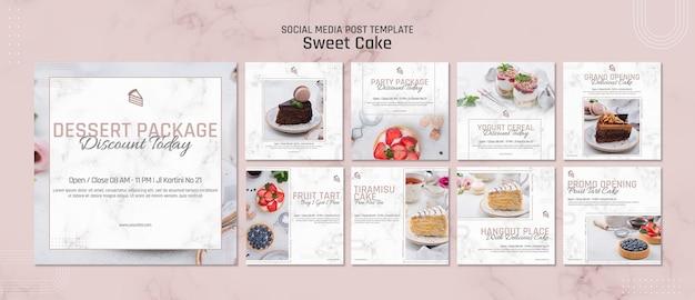 Sweet cake shop social media post template Premium Psd