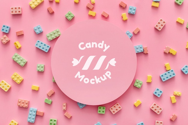 Sweet candies arrangement with mock-up Free Psd