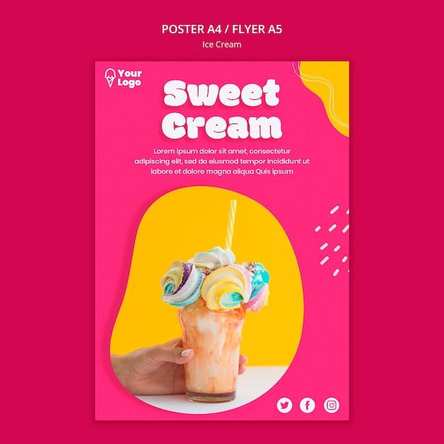 Шаблон плаката со сладким кремовым мороженым Бесплатные Psd