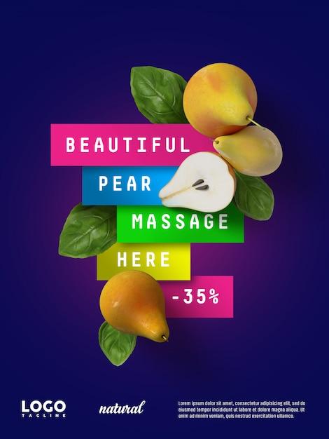 Sweet pears advertising floating banner Premium Psd