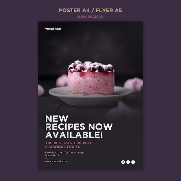Sweet recipes flyer template Free Psd
