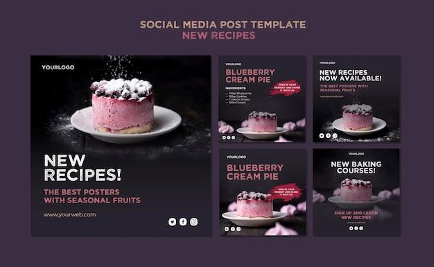 Modello di post sui social media di ricette dolci Psd Gratuite