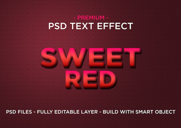 Sweet red premium photoshop psd styles text effect Premium Psd