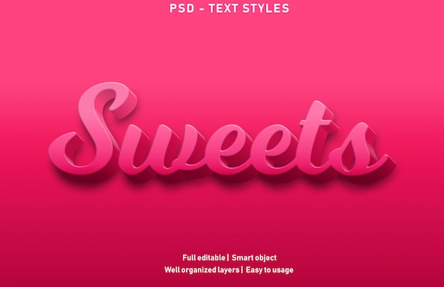 Sweets text effects style premium editable Premium Psd