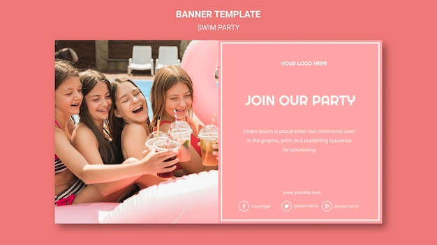 Swim party banner template Free Psd