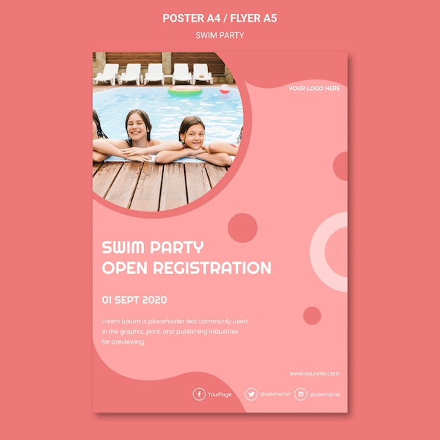 Swim party flyer template Free Psd