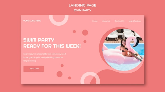 Swim party landing page template Premium Psd