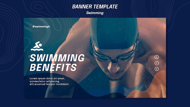 Swimming benefits banner template Free Psd