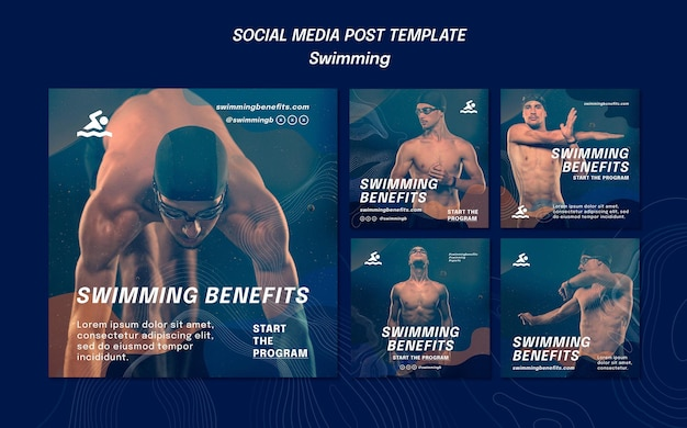 Swimming benefits social media post template Free Psd