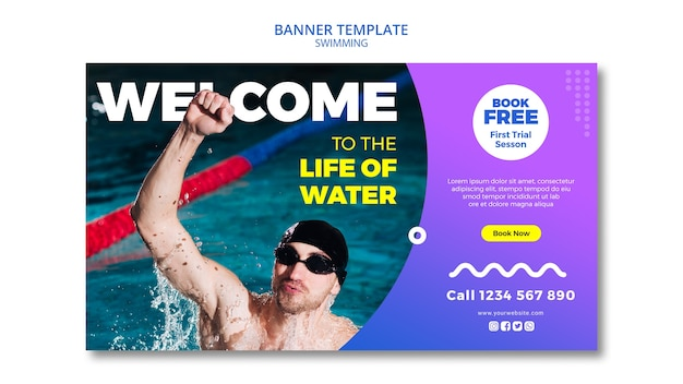 Swimming concept for banner design Free Psd