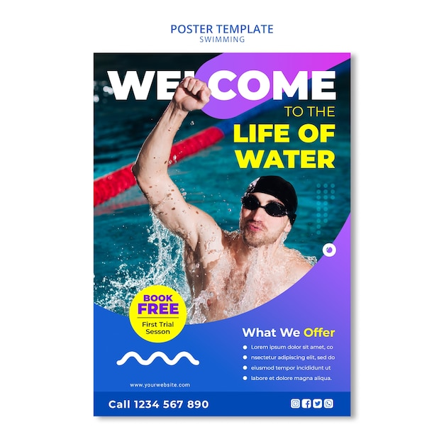 Swimming concept for poster template Free Psd