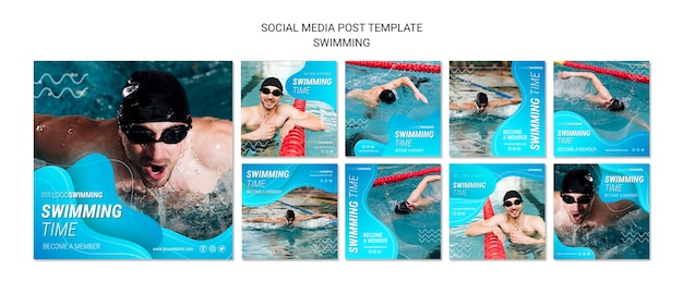 Swimming concept for social media post Free Psd