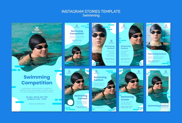 Swimming instagram stories template Free Psd