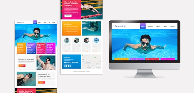 Swimming landing page template Free Psd