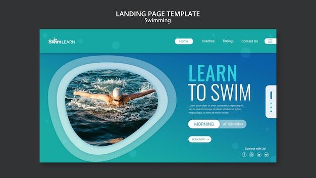 Целевая страница плавания с фото Premium Psd