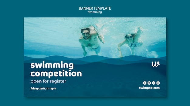 Swimming lessons banner template with photo Free Psd