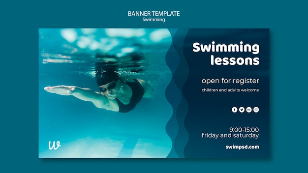 Swimming lessons banner template Free Psd