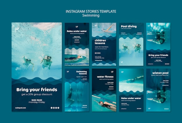 Swimming lessons instagram stories templates Free Psd