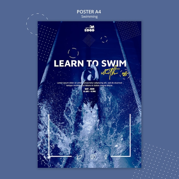 Swimming lessons poster template Free Psd