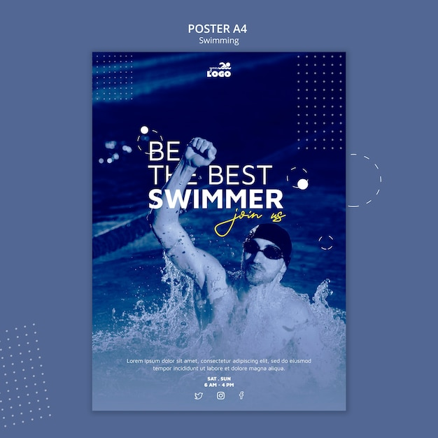 Swimming lessons poster with photo Free Psd